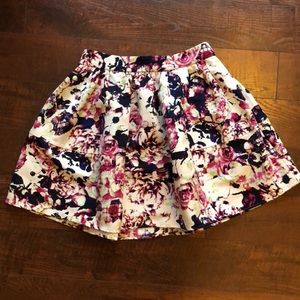 Express Black Floral Bubble Skirt size 4